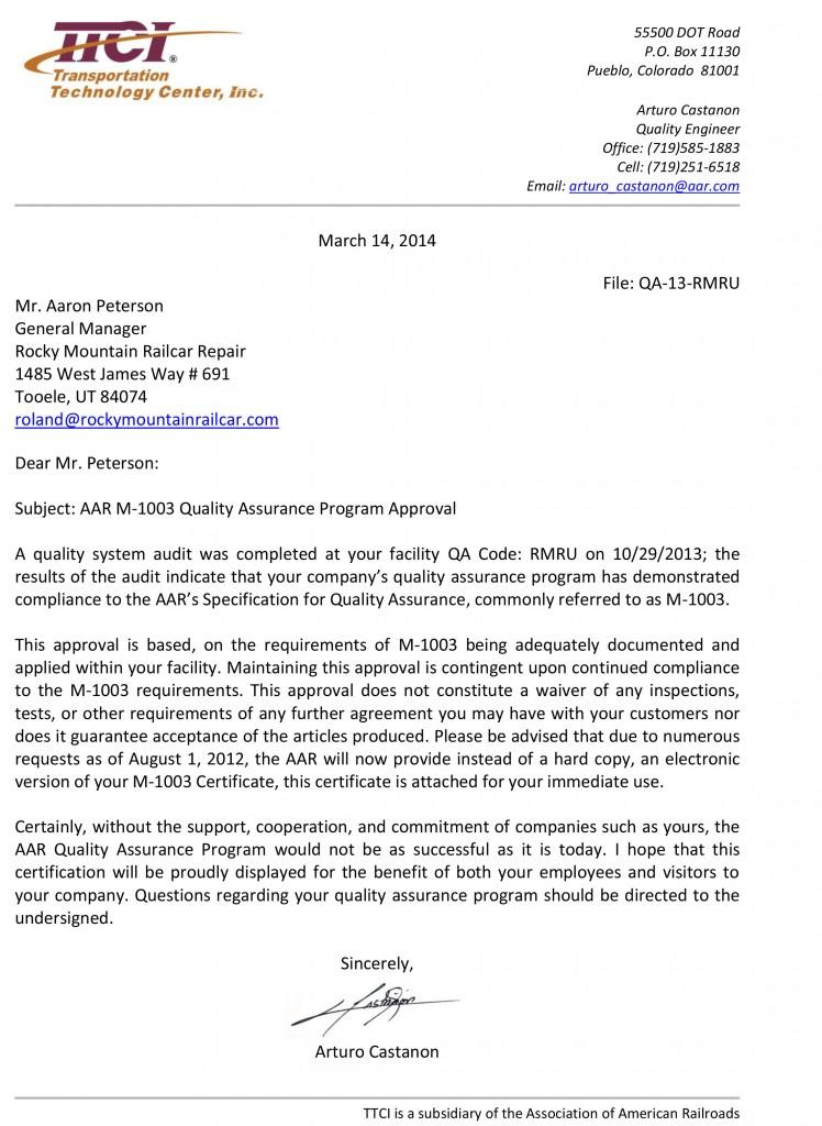 M1003 Certification Letter 2013 - RMRU-1